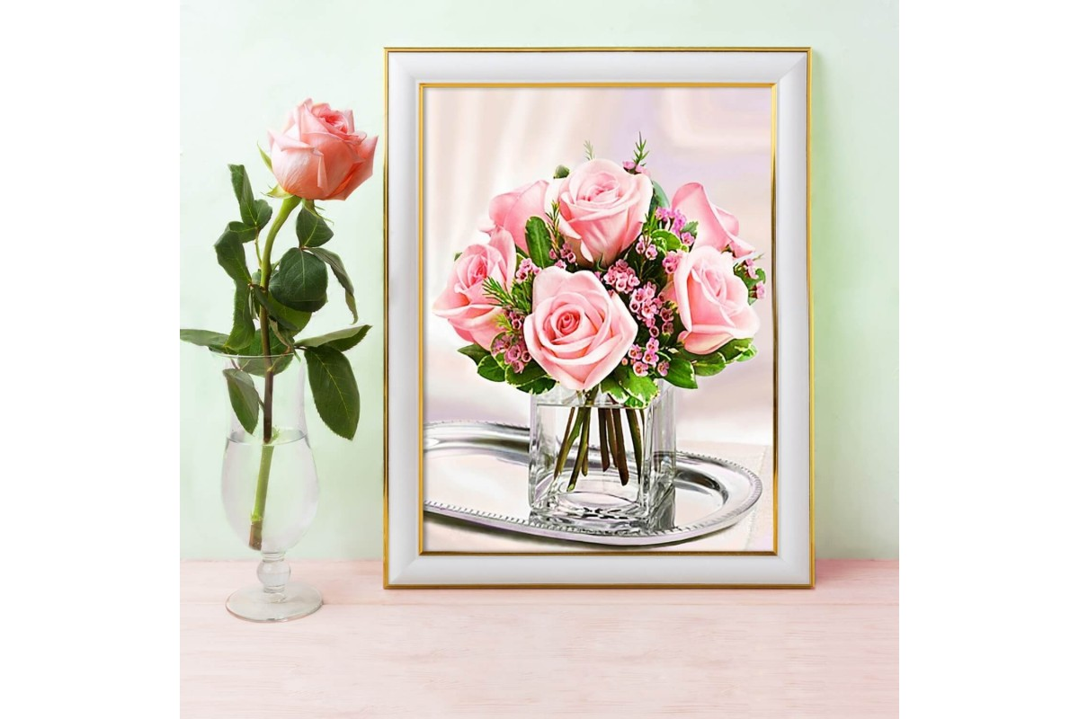<strong> Diamond Painting</strong> VASO CON ROSE